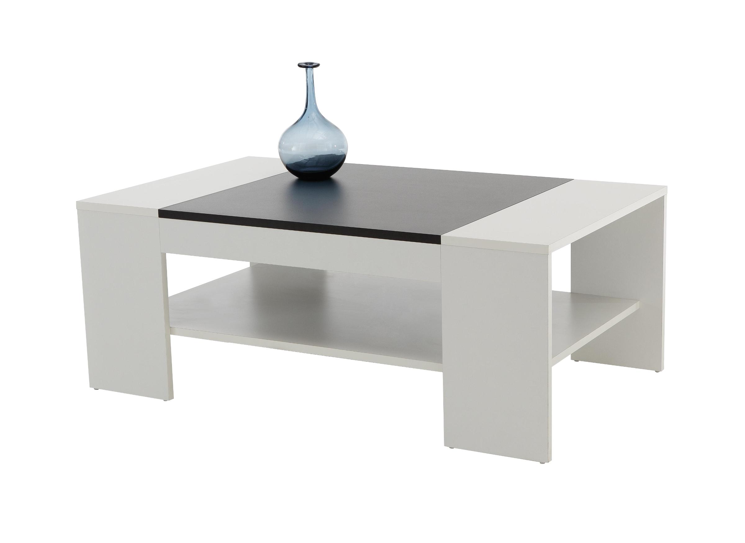Couchtisch Oliver Tischplatte 111 X 67 Cm Mit Ablageboden Weiss Schwarz