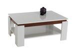 Couchtisch TIM II - Tischplatte 90 x 60 cm - mit Ablageboden - Weiß glänzend