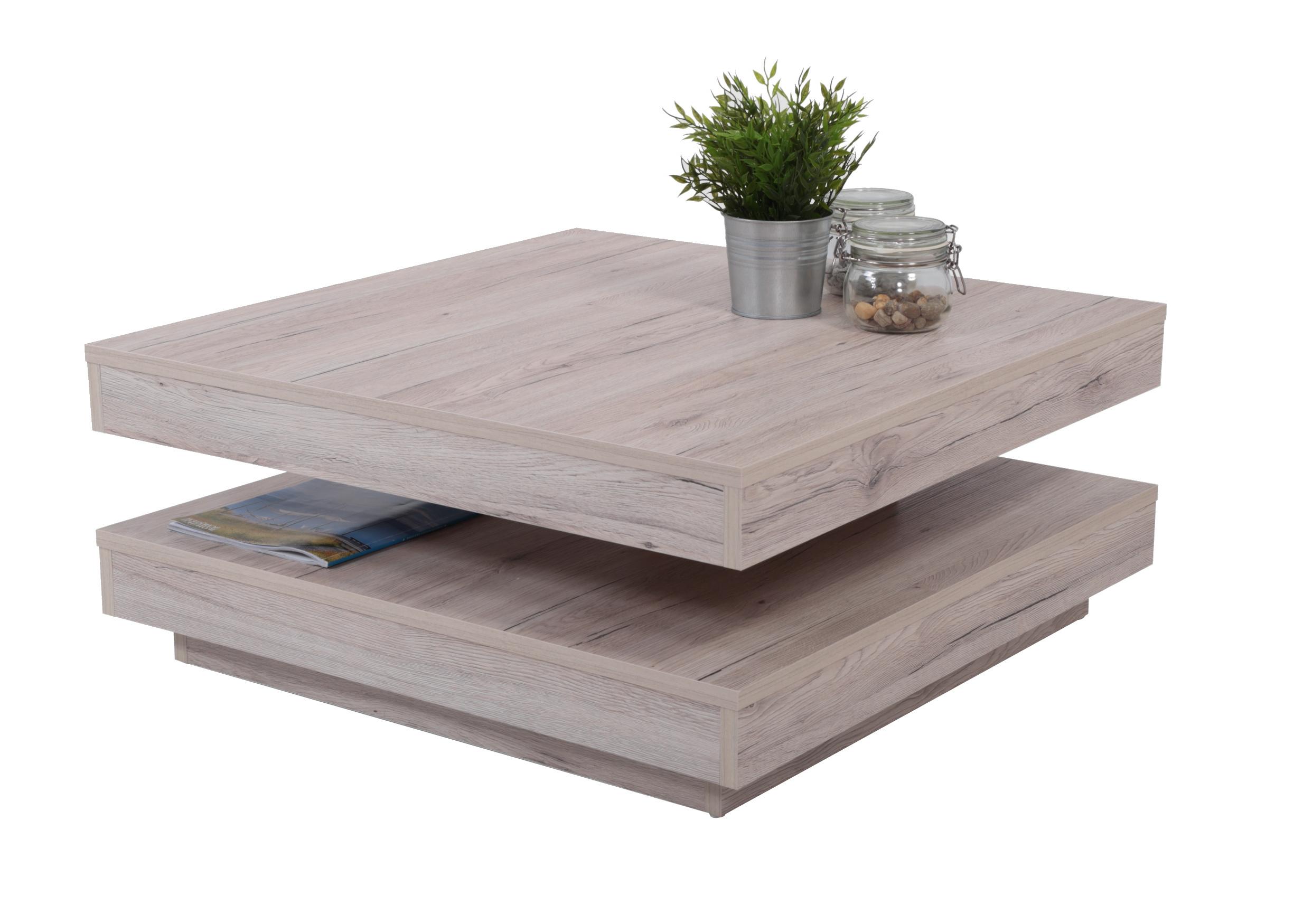 couchtisch ben mit drehbarer tischplatte 78 x 78 cm eiche sand wohnen couchtische. Black Bedroom Furniture Sets. Home Design Ideas