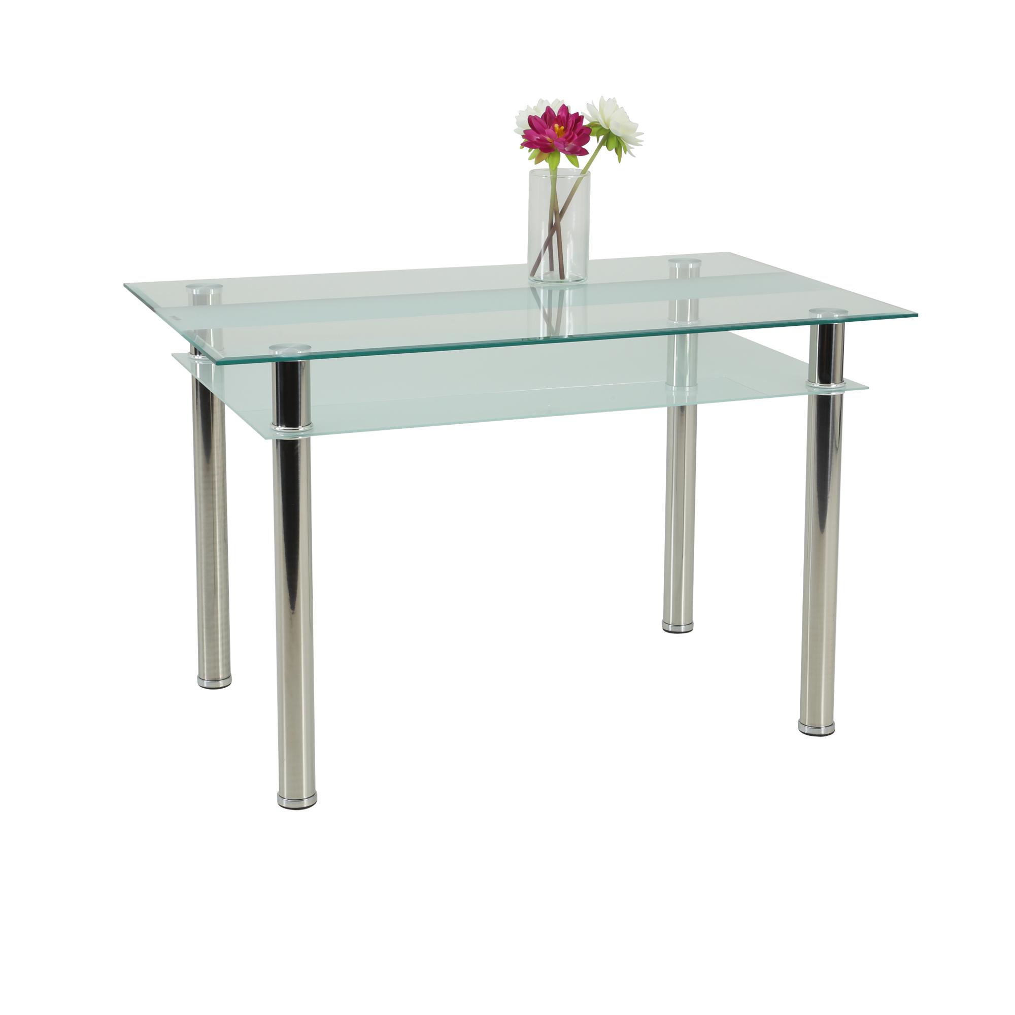 Esstisch KATHARINA Glastisch mit Ablageboden 120 x 70
