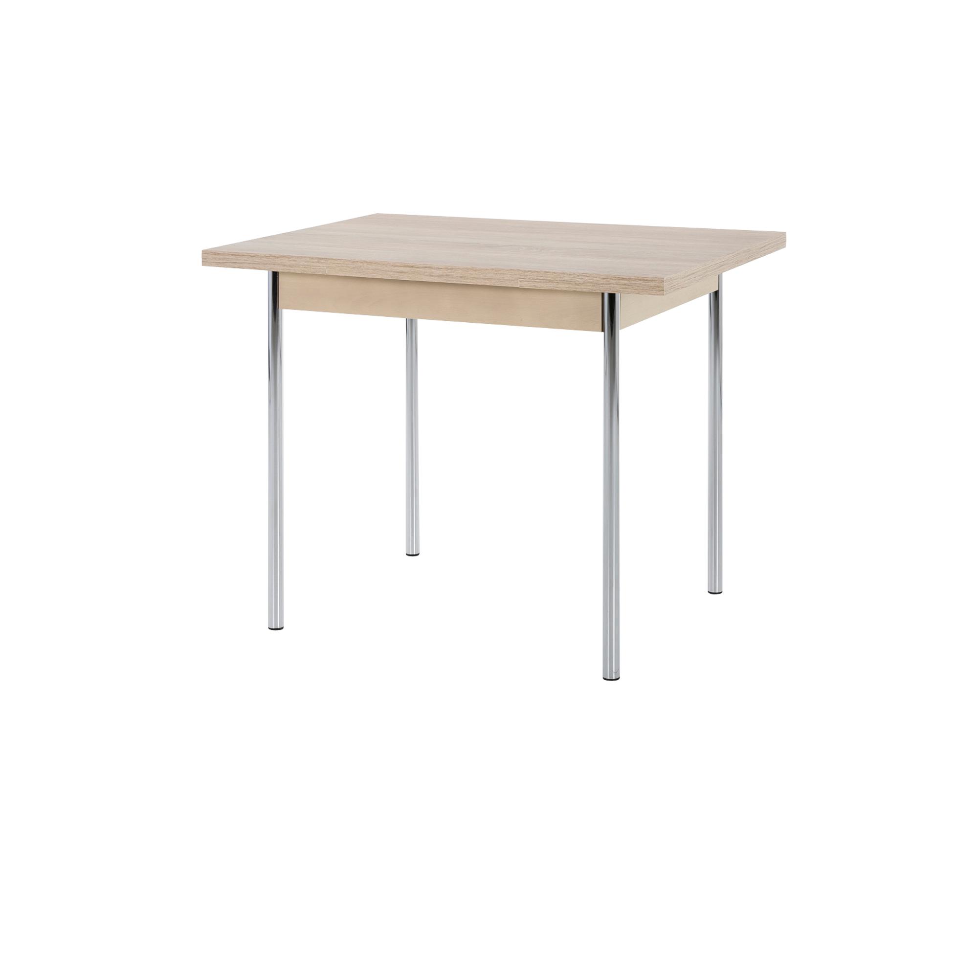 esstisch bonn i tischplatte ausziehbar 90 x 65 cm eiche sonoma chrom wohnen esstische. Black Bedroom Furniture Sets. Home Design Ideas