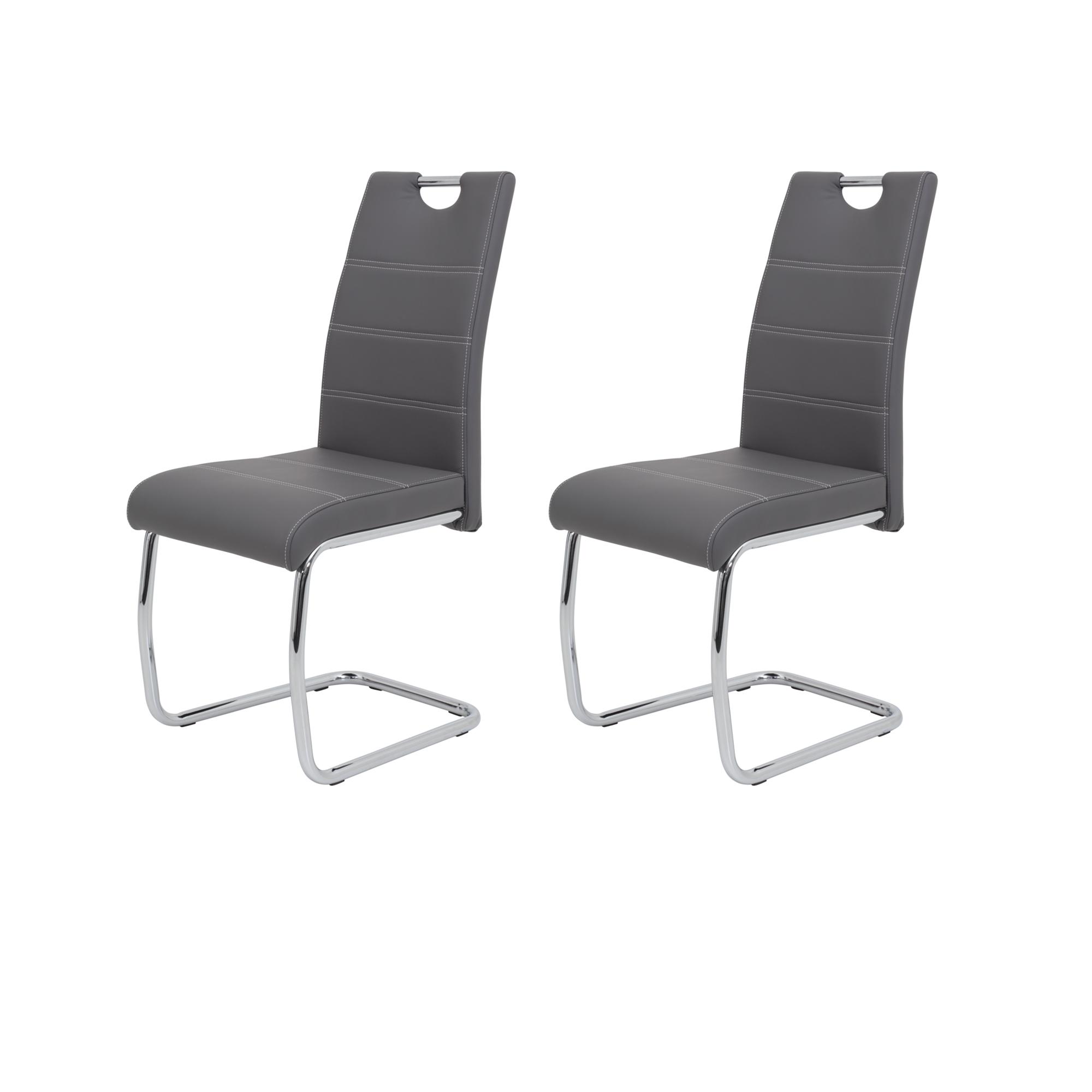 freischwinger flora 2er set kunstleder 42 cm breit grau wohnen st hle. Black Bedroom Furniture Sets. Home Design Ideas