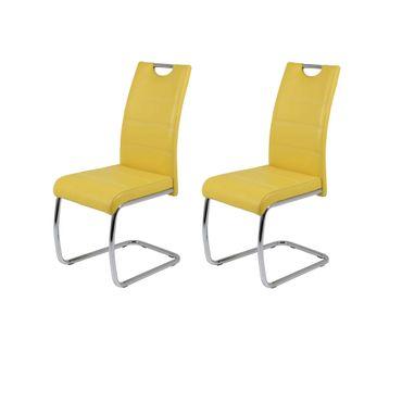 Freischwinger FLORA - 2er Set - Kunstleder - 42 cm breit - Gelb