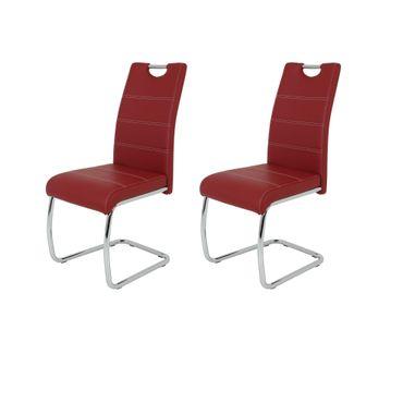 Freischwinger FLORA - 2er Set - Kunstleder - 42 cm breit - Rot
