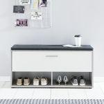 Schuhregal EMMY - mit Klappe und Sitzkissen - Betongrau / Weiß
