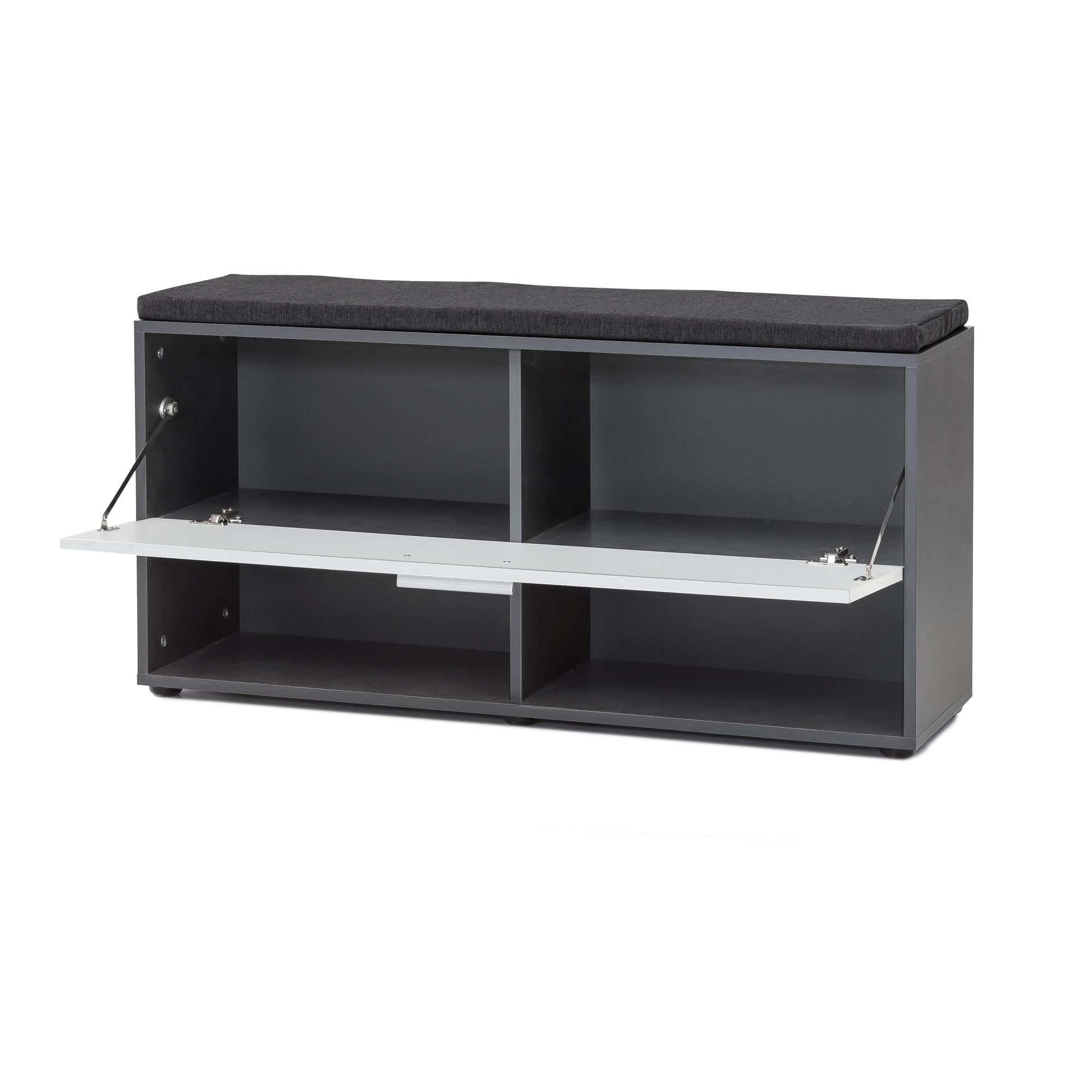 schuhregal emmy mit klappe und sitzkissen graphit wei wohnen schuhschrank. Black Bedroom Furniture Sets. Home Design Ideas