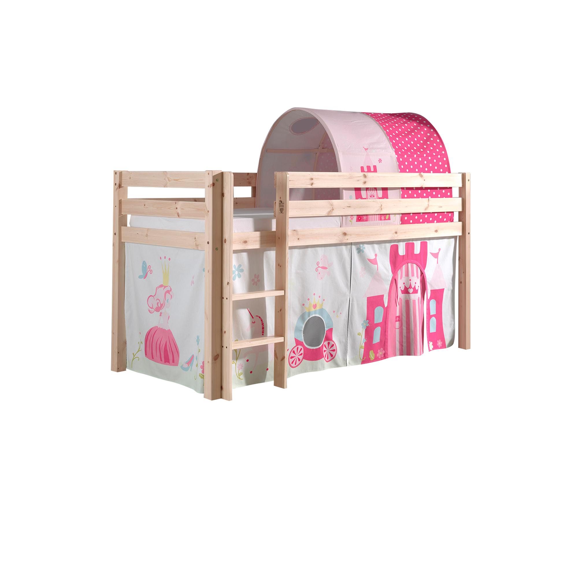 Details zu Kinderbett Spielbett Vorhang Hochbett Tunnel Prinzessin 90x200  cm kiefer massiv