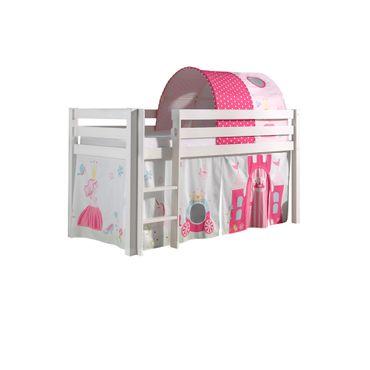 """Spielbett PINO """"Princess"""" 2 - Liegefläche 90 x 200 cm - Kiefer Weiß Massiv"""