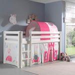 Spielbett PINO  Princess  2 - Liegefläche 90 x 200 cm - Kiefer Weiß Massiv