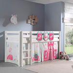 Spielbett PINO  Princess  3 - Liegefläche 90 x 200 cm - Kiefer Weiß Massiv