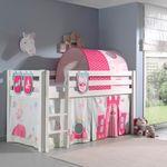 Spielbett PINO  Princess  4 - Liegefläche 90 x 200 cm - Kiefer Weiß Massiv