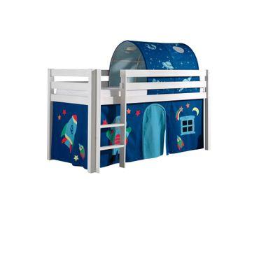 "Spielbett PINO ""Astro"" 2 - Liegefläche 90 x 200 cm - Kiefer Weiß Massiv"