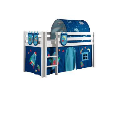 "Spielbett PINO ""Astro"" 4 - Liegefläche 90 x 200 cm - Kiefer Weiß Massiv"