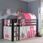 Spielbett PINO  Princess  4 - Liegefläche 90 x 200 cm - Kiefer Anthrazit Massiv