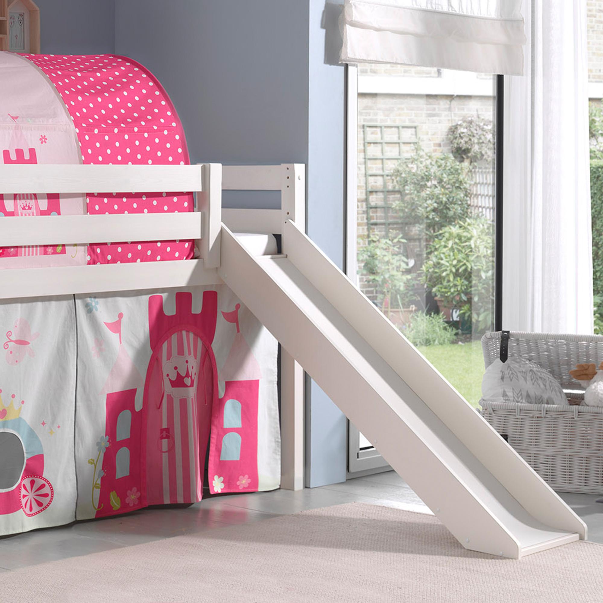 spielbett pino princess 2 mit rutsche kiefer wei. Black Bedroom Furniture Sets. Home Design Ideas