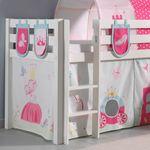 Spielbett PINO  Princess  4 - mit Rutsche - Kiefer Weiß Massiv