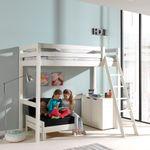 Hochbett PINO mit Schlafsessel - Liegefläche 90 x 200 cm - Kiefer Weiß Massiv