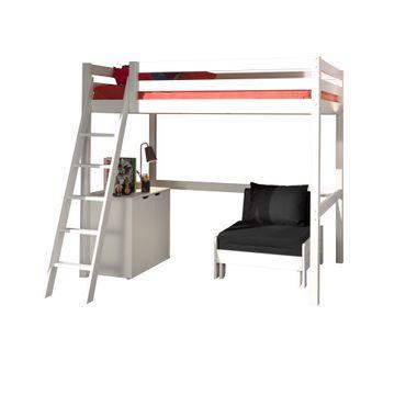Hochbett PINO mit Schlafsessel - Liegefläche 140 x 200 cm - Kiefer Weiß Massiv