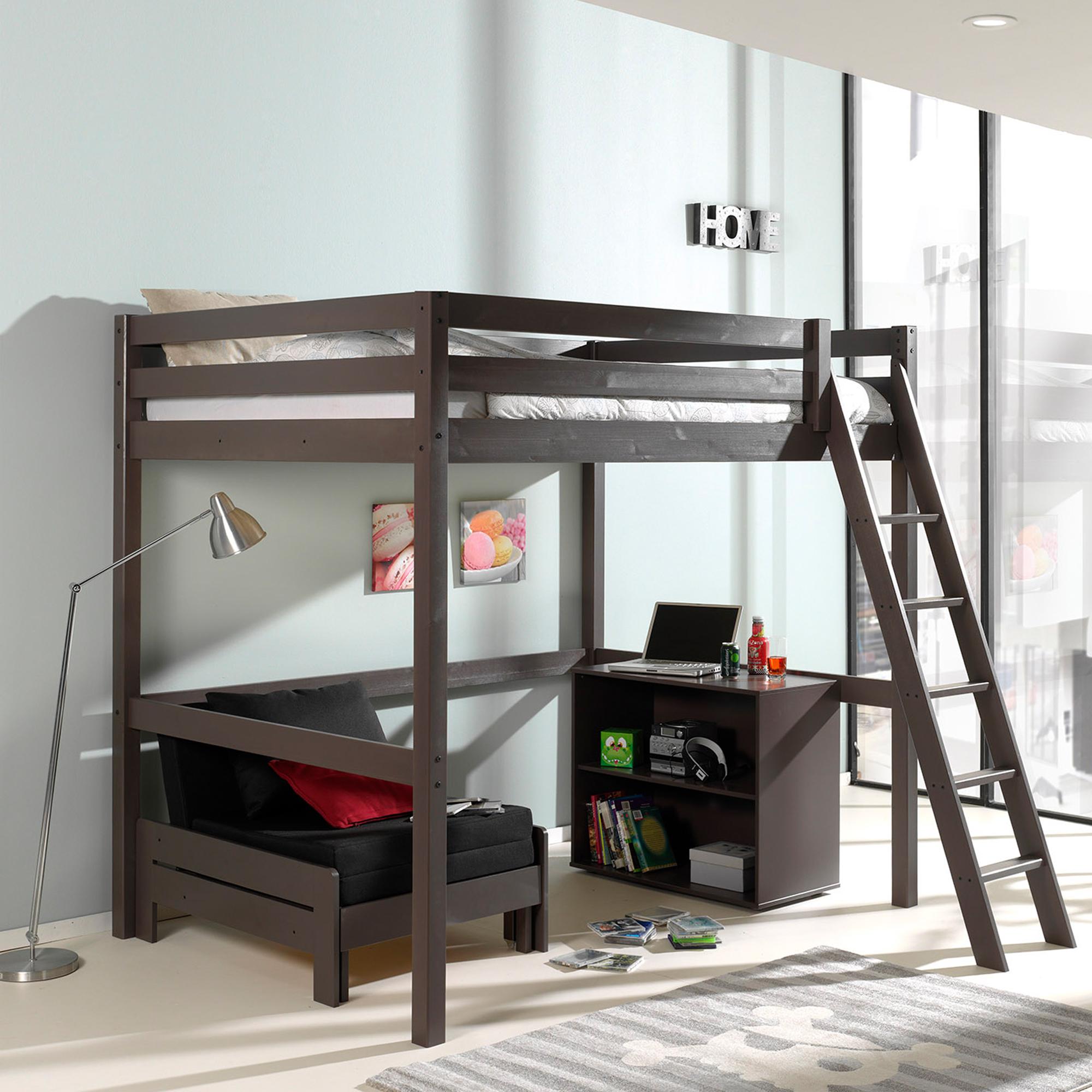 Hochbett pino mit schlafsessel liegefl che 140 x 200 cm for Funktionsbetten jugendzimmer