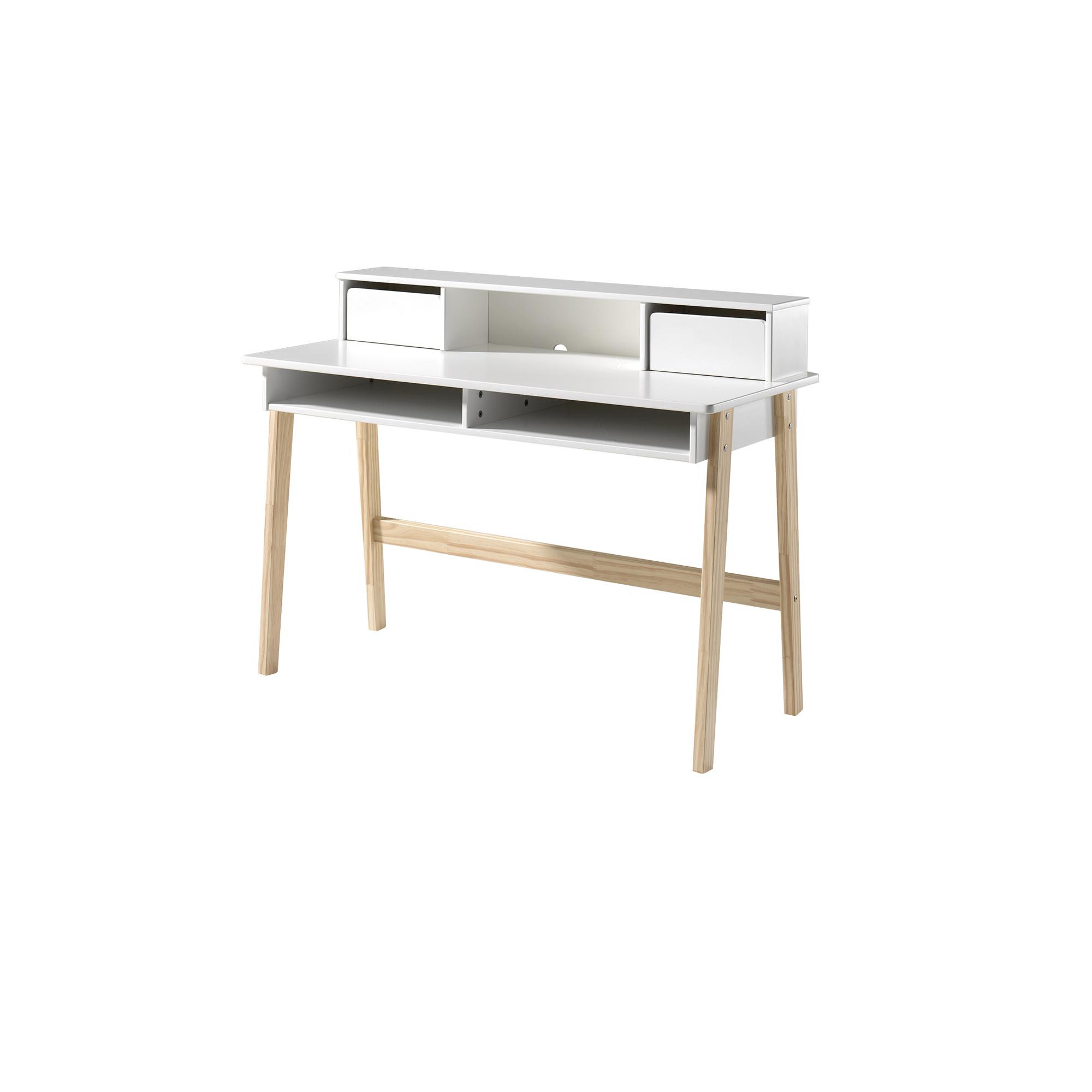 schreibtisch kiddy mit aufsatz 2 schubladen 2 f cher wei kiefer natur kinder. Black Bedroom Furniture Sets. Home Design Ideas