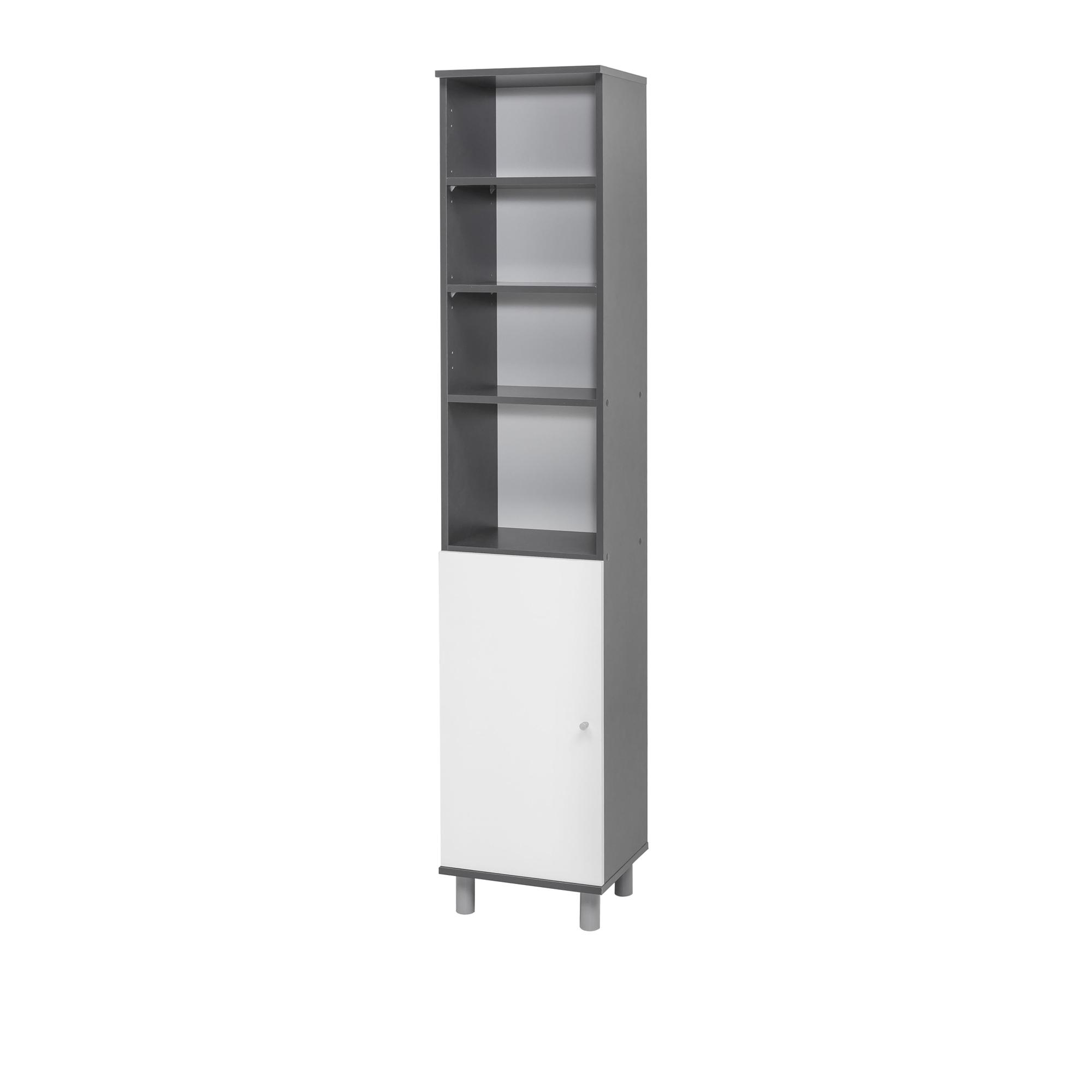 bad hochschrank lindau 1 t rig 4 f cher 35 cm breit wei graphit grau bad bad hochschr nke. Black Bedroom Furniture Sets. Home Design Ideas