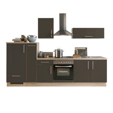 Küchenzeile STOCKHOLM - Küche mit E-Geräten - Breite 300 cm - Hochglanz Schoko-Braun