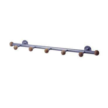 Wandgarderobe SELMA - 5 Haken - 72 cm breit - Alufarben