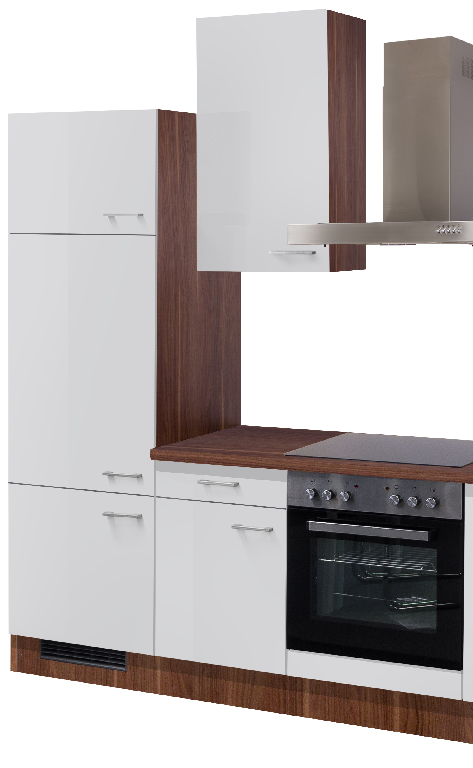 einbauk che cosmo k chenzeile mit elektro ger ten 270 cm perlmutt weiss ebay. Black Bedroom Furniture Sets. Home Design Ideas
