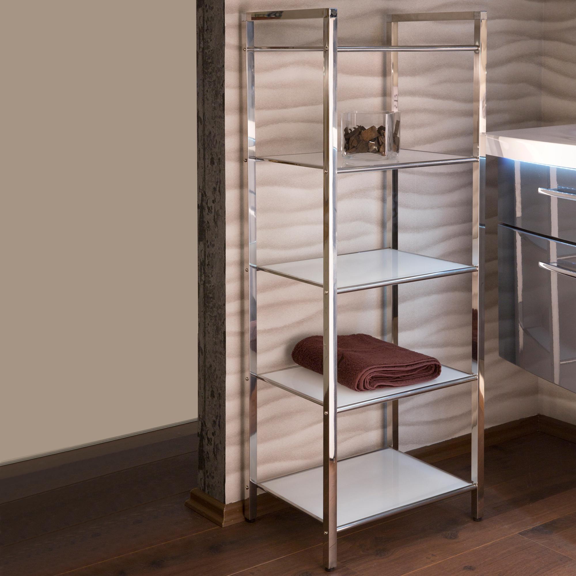 regal linda mit 5 glasb den 30 x 40 cm edelstahl wei wohnen regale. Black Bedroom Furniture Sets. Home Design Ideas