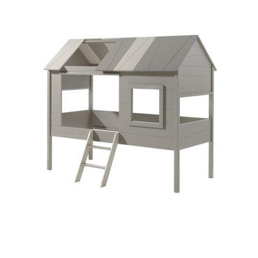 Hausbett CHARLOTTE - mit Vorhang-Set - Liegefläche 90 x 200 cm - Grau