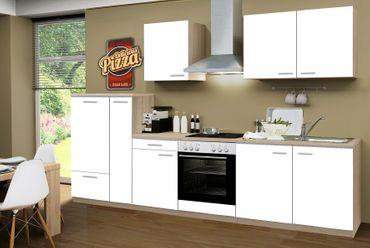 Küchenzeile GÖTEBORG - Mit E-Geräten und Glaskeramikkochfeld - Breite 300 cm - Weiß