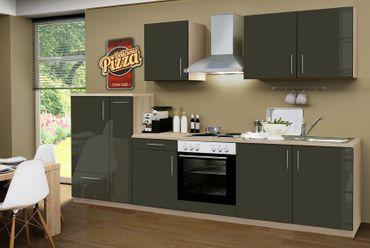 Küchenzeile STOCKHOLM - Küche mit E-Geräten - 13-teilig Elektro - Breite 300 cm - Hochglanz Schoko-Braun