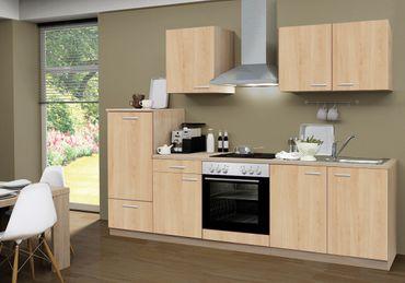 Küchenzeile GÖTEBORG - Mit E-Geräten und Glaskeramikkochfeld - Breite 270 cm - Eiche Sonoma