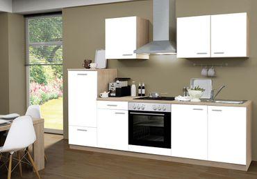 Küchenzeile GÖTEBORG - Mit E-Geräten und Glaskeramikkochfeld - Breite 270 cm - Weiß