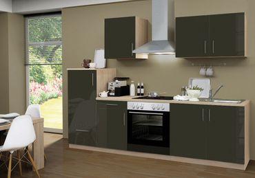 Küchenzeile STOCKHOLM - Mit E-Geräten und Glaskeramikkochfeld - Breite 270 cm - Hochglanz Schoko-Braun