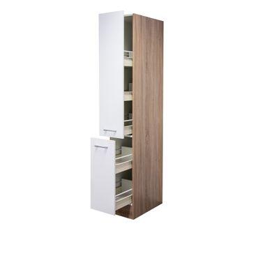 Küchen-Apothekerschrank ROM - 2 Front-Auszüge, 5 Schubkästen - Weiß