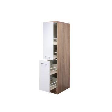 Midi-Apothekerschrank Küche ROM - 2 Front-Auszüge, 4 Schubkästen - Weiß