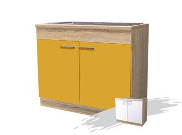 k chen sp lenschrank rom 2 t rig 100 cm breit gelb. Black Bedroom Furniture Sets. Home Design Ideas