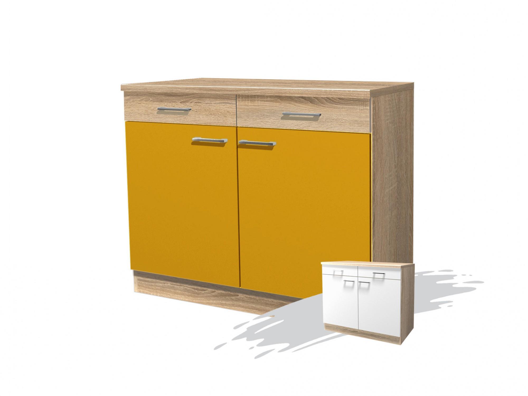 Küchen-Unterschrank ROM - 2-türig - 100 cm breit - Gelb Küche ROM