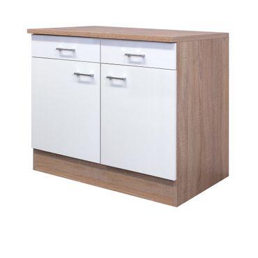 Küchen-Unterschrank ROM - 2-türig - 100 cm breit - Weiß