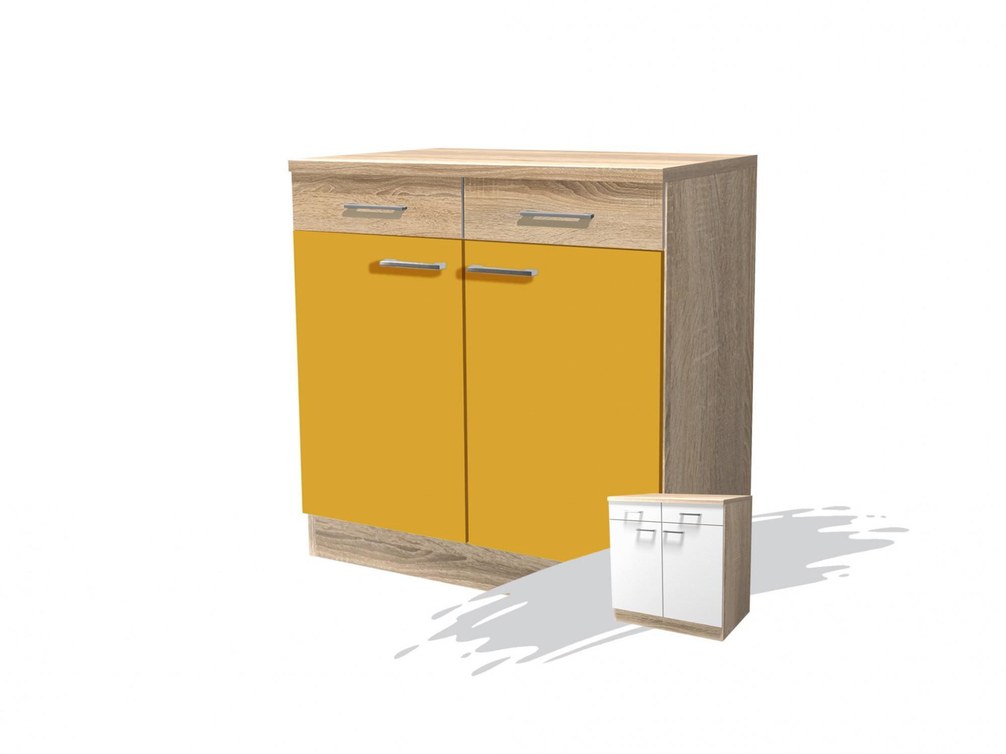 Küchen Unterschrank ROM 2 türig 80 cm breit Gelb