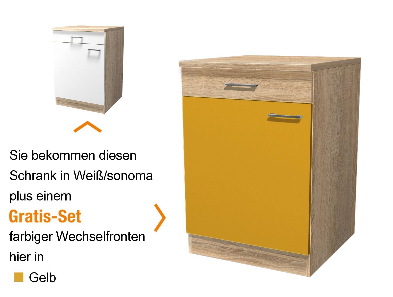 k chen unterschrank rom 1 t rig 60 cm breit gelb k che k chen unterschr nke. Black Bedroom Furniture Sets. Home Design Ideas