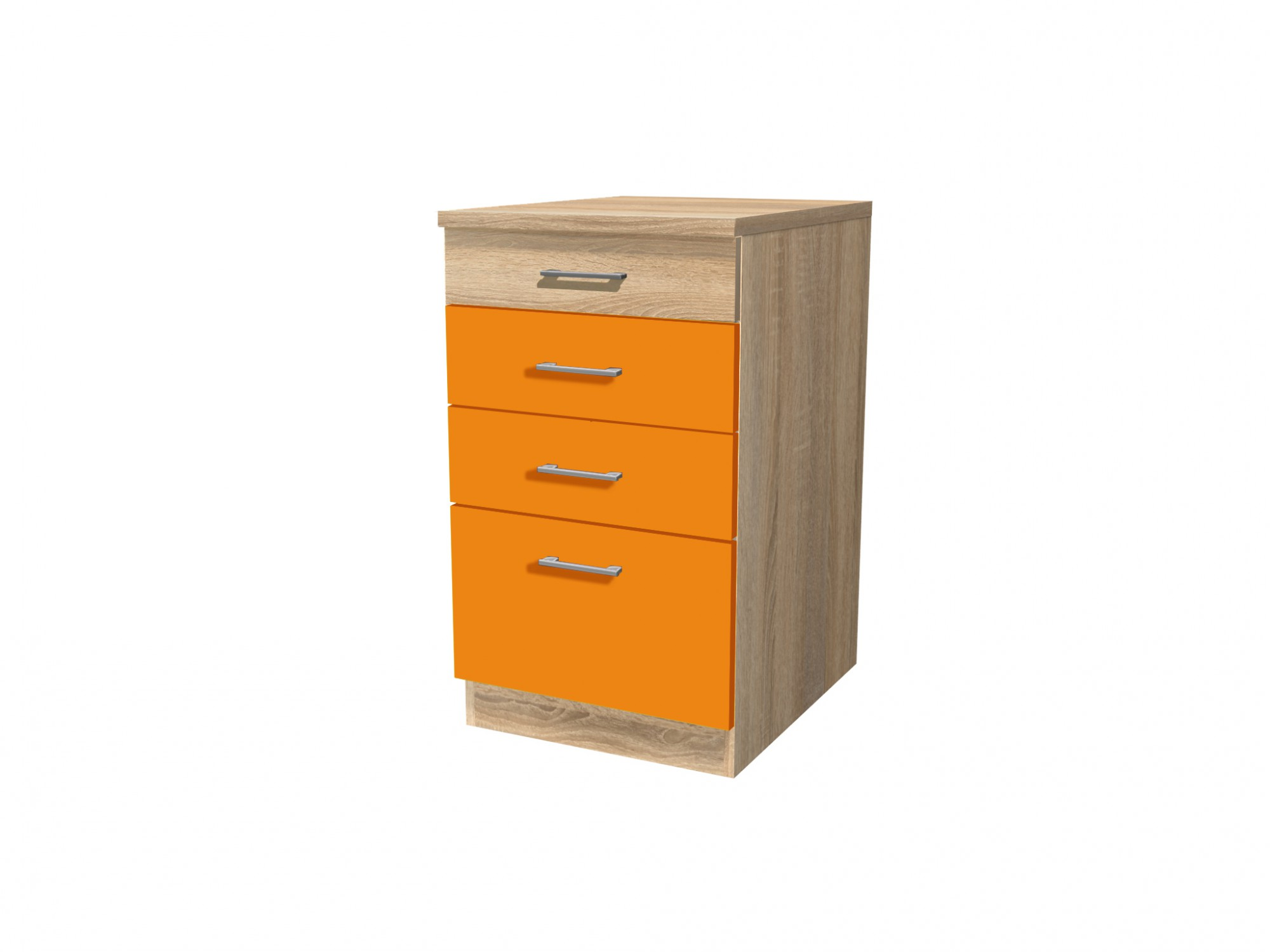 k chen unterschrank rom k chenschrank mit schubladen 50 cm orange sonoma weiss ebay. Black Bedroom Furniture Sets. Home Design Ideas