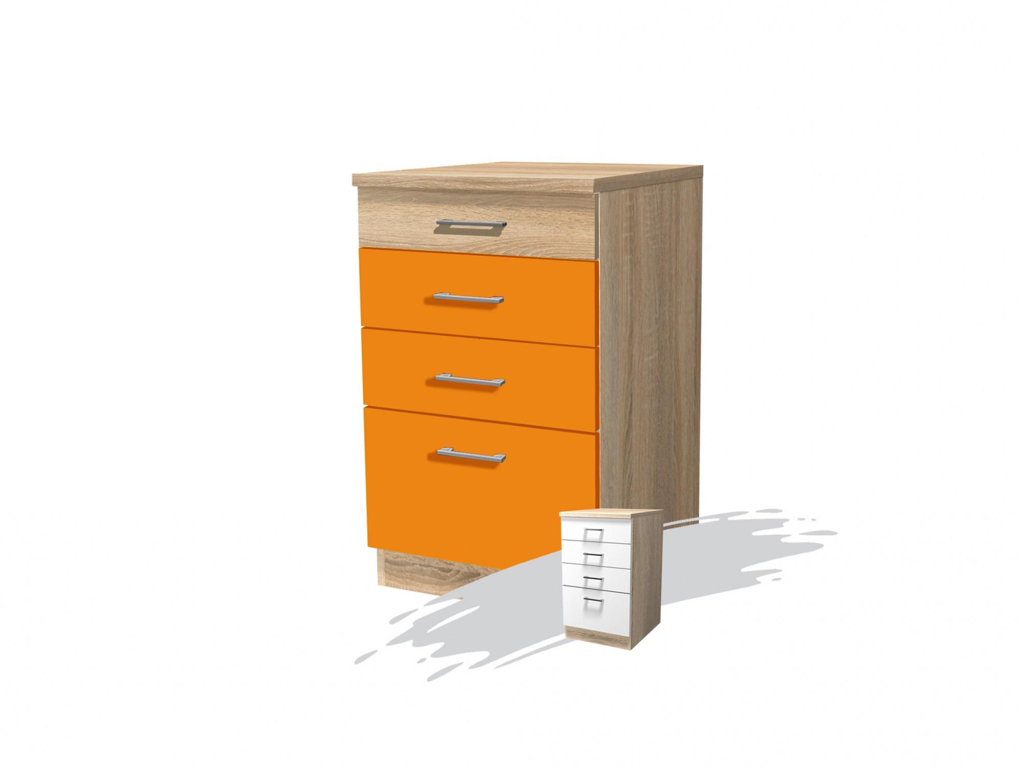 Küchen-Unterschrank ROM Küchenschrank mit Schubladen 50 cm orange ...