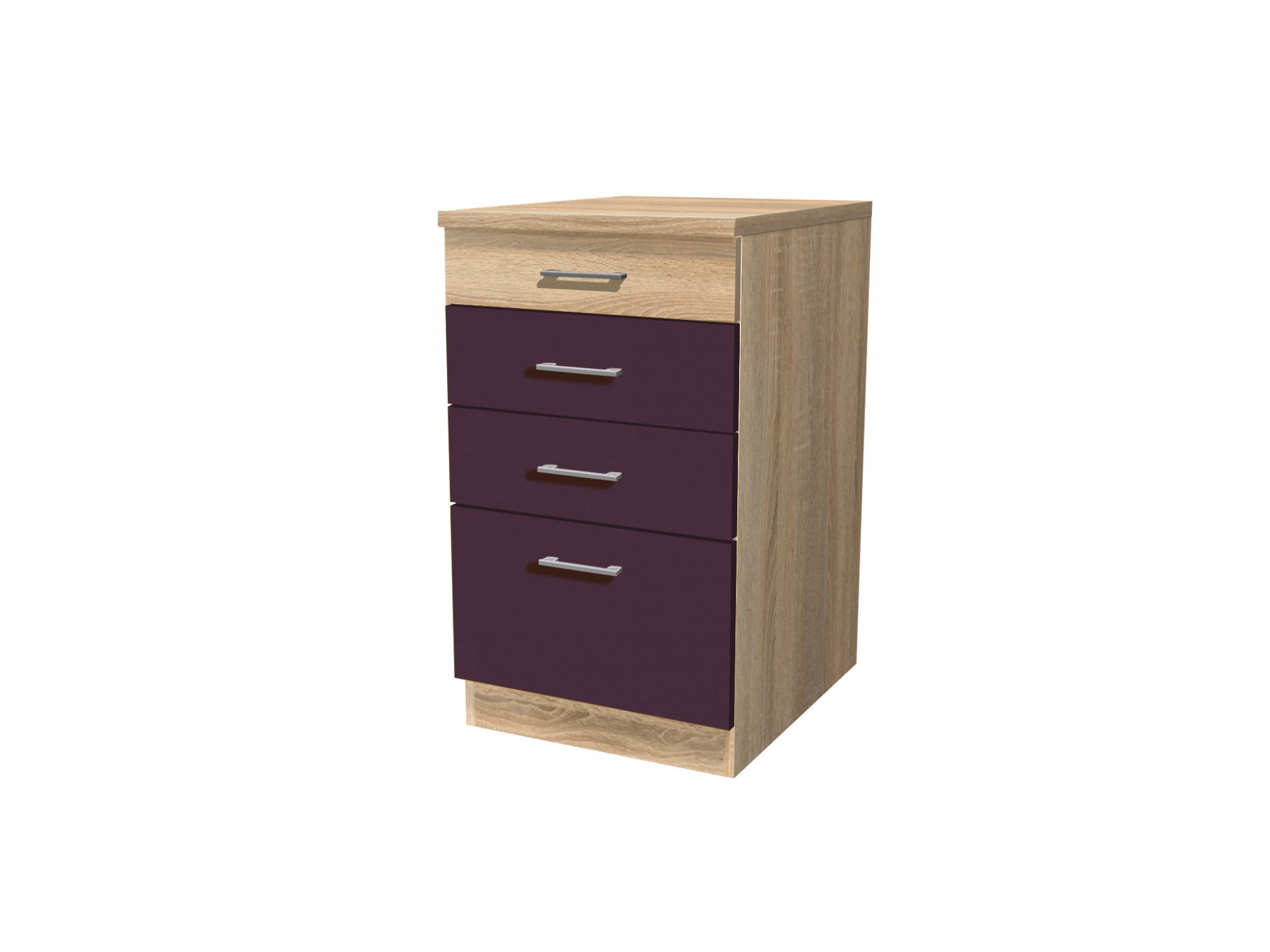 k chen unterschrank rom 1 auszug 3 schubladen 50 cm breit aubergine k che k chen. Black Bedroom Furniture Sets. Home Design Ideas