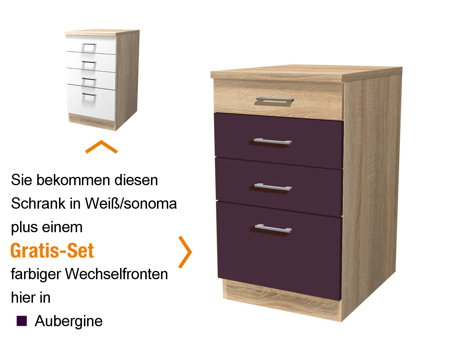 k chen unterschrank rom k chenschrank mit schubladen 50cm aubergine sonoma weiss ebay. Black Bedroom Furniture Sets. Home Design Ideas