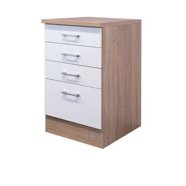 Küchen-Unterschrank ROM - 1 Auszug, 3 Schubladen - 50 cm breit - Weiß