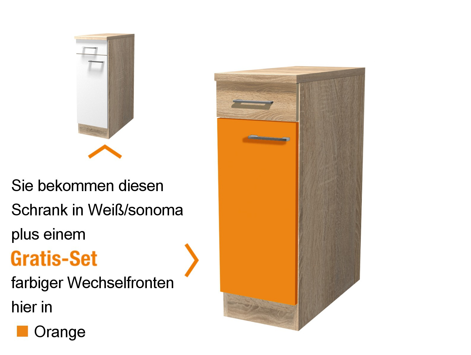 k chen unterschrank rom 1 t rig 30 cm breit orange k che k chen unterschr nke. Black Bedroom Furniture Sets. Home Design Ideas