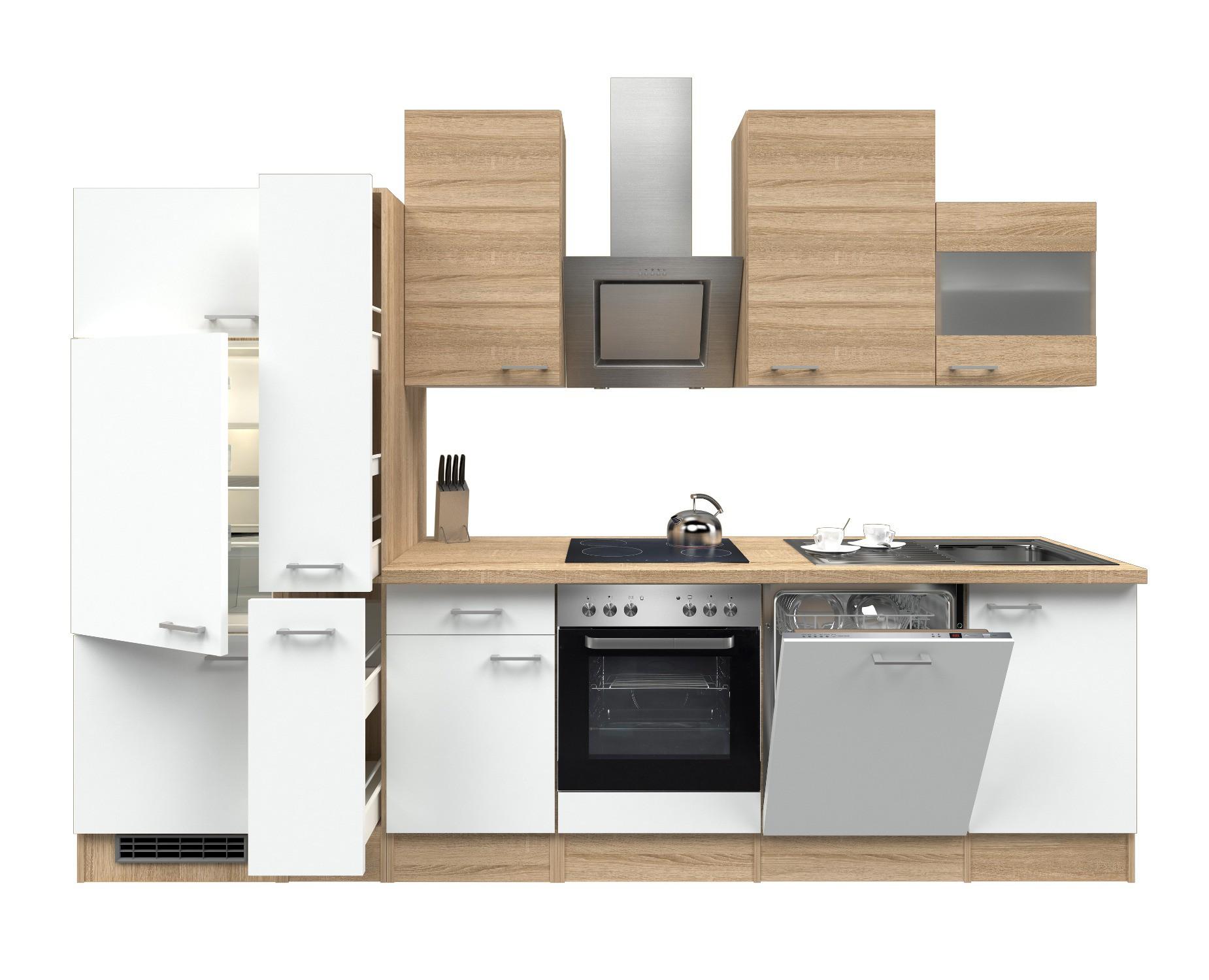 Küchenzeile ROM - Küche mit E-Geräten - 16-teilig - Breite 310 cm ...