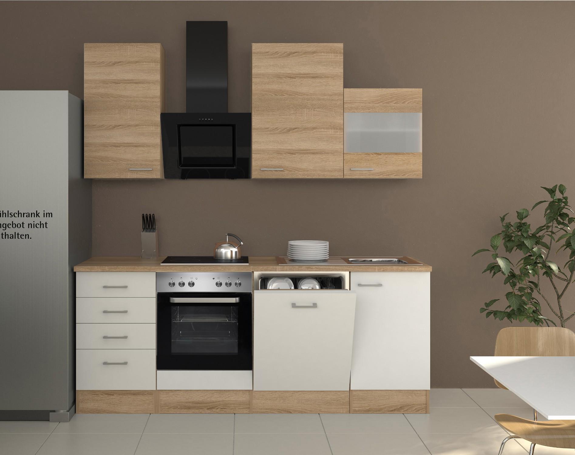 Küchenzeile ROM - Küche mit E-Geräten - 13-teilig - Breite 220 cm ...